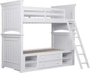 SummerTime 84667303132SET 2 PC Bedroom Set with Twin Size Bunk Bed + Underbed Storage Unit in White Color