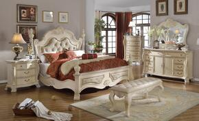 Monaco MONACOKDMCNB 7 PC Bedroom Set with King Size Bed + Dresser + Mirror + Chest + Bench + 2 Nightstands in Antique White Finish