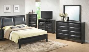 G1500AKBDM 3 Piece Set including King Size Bed, Dresser and Mirror in Black