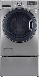 "WM3770HVA 27"" Front Load Washer with 4.5 cu. ft. Capacity, Steam Technology, TurboWash, 12 Wash Programs, and WDP4V 27"" Pedestal"