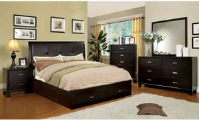 Enrico III Collection CM7066EXQBEDSET 5 PC Bedroom Set with Queen Size Platform Bed + Dresser + Mirror + Chest + Nightstand in Espresso Finish