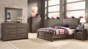 Juararo Full Bedroom Set with Panel Bed, Dresser, Mirror and Nightstand in Aged Brown