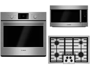 "3-Piece Stainless Steel Kitchen Package with HBL5351UC 30"" Electric Single Wall Oven, NGM5055UC  30"" Gas Cooktop and HMV8052U 30"" Over-the-Range Microwave"