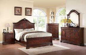 Estrella 20730Q5PC Bedroom Set with Queen Size Bed + Dresser + Mirror + Chest + Nightstand in Dark Cherry Finish