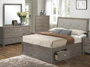 G1205BKSBDM 3 Piece Set including King Storage Bed, Dresser and Mirror  in Gray