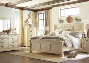 Bolanburg Queen Bedroom Set with Lattice Panel Bed, Dresser, Mirror, Nightstand and Chest in Antique White