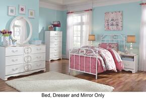 Korabella Twin Bedroom Set with Metal Bed, Dresser and Mirror in White Finish
