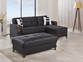 ALMSECOTTZBNL Almira Sectional Sleeper Sofa and Ottoman with Matching Pillows, Tufted Detailing, Tapered Legs and Upholstered in Zen Brown PU-Leatherette