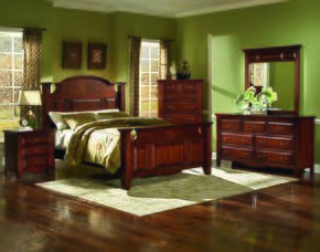 6740QBDMNC Drayton Hall 5 Piece Bedroom Set with Queen Bed, Dresser, Mirror, Nightstand and Chest, in Bordeaux