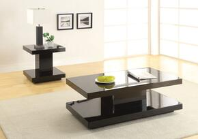 Koren 80726CET 2 PC Living Room Table Set with Coffee Table + End Tbale in Black Color