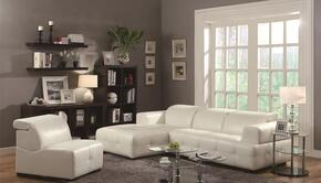 Darby 503617SAC 2 PC Living Room Set with Sectional Sofa + Armless Chair in White Color