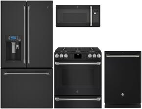 "4-Piece Black Slate Kitchen Package with CFE28UELDS 36"" French Door Refrigerator, CGS986EELDS 30"" Slide In Dual Fuel Range, CVM9179ELDS 30"" Countertop Microwave, and CDT835SMJDS 24"" Fully Integrated Dishwasher"