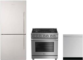 "3-Piece Kitchen Package with BRFB1812SSLN 30"" Counter Depth Bottom Freezer Refrigerator, BDFP34550SS 30"" Freestanding Dual Fuel Range, and a free DWT55300SS 24"" Built In Fully Integrated Dishwasher in Stainless Steel"