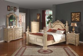 SIENNAPOSTQSET Sienna White Finished Queen Sized Poster Bed with Marble Posts + 2 Nightstands + Dresser + Mirror