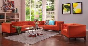 Huntington Collection EM226WALBORASET 3 PC Living Room Set with Sofa + Loveseat + Lounge Chair in Burnt Orange Color