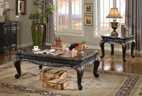 Florence 218CE 2 PC Living Room Table Set with Coffee Table + End Table in Black Finish