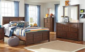 Ladiville Full Bedroom Set with Panel Bed, Dresser and Mirror in Rustic Brown