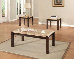 Charissa 80793CE 3 PC Living Room Table Set with Coffee Table + 2 End Tables in Aegean Light Brown Finish