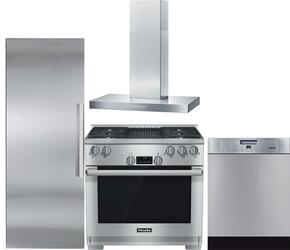 "4-Piece Stainless Steel Kitchen Package with K1813SF 30"" All Refrigerator, G4227SCUSS 24"" Full Console Dishwasher, HR1135GGR 36"" Freestanding Gas Range, and DA6290W 36"" Wall Mount Chimney Range Hood"