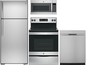 "4-Piece Stainless Steel Kitchen Package with GTE18GSHSS 28"" Top Freezer Refrigerator, JBS60RKSS 30"" Freestanding Electric Range, GDF510PSJSS 24"" Full Console Dishwasher and JVM7195SKSS 30"" Over-the-Range Microwave"