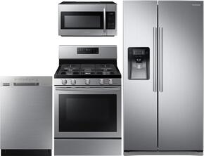 "4-Piece Kitchen Package with RS25J500DSR 36"" Freestanding Side by Side Refrigerator, NX58H5600SS 30"" Freestanding Gas Range, ME18H704SFS 30"" Over the Range Microwave Oven and DW80J3020US 24"" Built In Dishwasher in Stainless Steel"