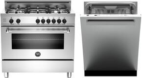 "2-Piece Stainless Steel Kitchen Package with MAS365GASXELP 36"" Freestanding Liquid Propane Range, and DW24XT 24"" Fully Integrated Dishwasher with Heritage Handle"