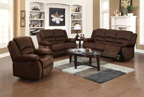 Bailey Collection 51030SET 6 PC Living Room Set with Sofa + Loveseat + Recliner + 3 PC Table Set in Chocolate Color