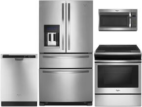 "4-Piece Kitchen Package with WRX735SDBM 36"" French Door Refrigerator, WEE510S0FS 30"" Electric Freestanding Range, WDT720PADM 24"" Built in Dishwasher and WMH32519FS30"" Over The Range Microwave oven in Stainless Steel"