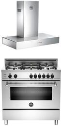 "Bertazzoni Stainless Steel 2-Piece Kitchen Package With MAS365GASXE 36"" Gas Freestanding Range with 5 Burners and K36CONX 36"" Wall Mount Canopy Range Hood For 50% Off"