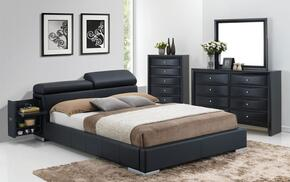 Manjot 20747EK4PC Bedroom Set with Eastern King Size Bed with Attached Nightstand + Dresser + Mirror + Chest in Black Color