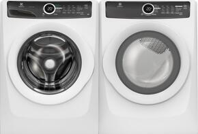 "White Front-Load Laundry Pair with EFLW417SIW 27"" Washer and EFME417SIW 27"" Electric Dryer"