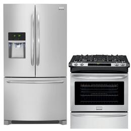 "Gallery 2-Piece Smudge-Proof Stainless Steel Kitchen Package with FGHF2366PF 36"" Freestanding French-Door Refrigerator, FGGS3065PF 30"" Slide-In Gas Range"