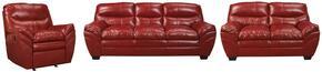 Jaylee Collection MI-9825SLR-CRIM 3-Piece Living Room Set with Sofa, Loveseat and Recliner in Crimson