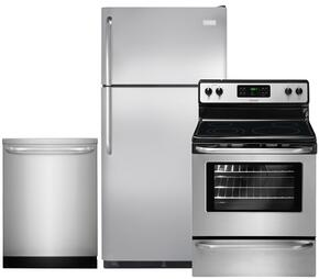 "3-Piece Stainless Steel Kitchen Package with FFTR18G2QS 30"" Top Freezer Refrigerator, FFEF3048LS 30"" Freestanding Electric Range and FFID2423RS 24"" Fully Integrated Dishwasher"