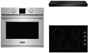 "3-Piece Kitchen Package With FFEC3024LB  31"" Electric Cooktop, FPEW3077RF 30"" Electric Single Wall Oven and FHWC3025MB 30"" Under Cabinet Convertible Hood in STainless Steel"