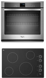 "2-Piece Kitchen Package With W5CE3024XB 30"" Electric Cooktop and WOS51EC0AS 30"" Electric Single Wall Oven in Stainless Steel"