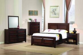 Greenough 400821F Full Bed, Night Stand, Dresser and Mirror in Maple Oak Finish