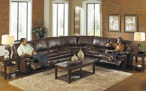 Perez Collection 4141-8-9-1232-29/3032-29 3-Piece Sectional with Reclining Sofa, Wedge and Reclining Loveseat in Chestnut
