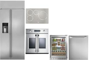 "5-Piece Stainless Steel Kitchen Package with ZISS360DKSS 36"" Side by Side Refrigerator, ZHU30RSJSS 30"" Induction Cooktop, ZET1FHSS 30"" Single Wall Oven, ZDT915SPJSS 24"" Fully Integrated Dishwasher, and ZDBR240HBS 24"" Beverage Cent"