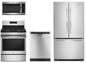 "4 Piece kitchen Package with WFG520S0FS 30"" Gas Freestanding Range, WMH32519FS Over the Range Microwave Oven, WDF520PADM 24"" Built In Full Console Dishwasher and WRF535SMBM 36"" Freestanding French Door Refrigerator in Stainless Steel"