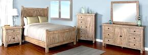 Durango Collection 2307WBQBDMN 4-Piece Bedroom Set with Queen Bed, Dresser, Mirror and Nightstand in Weathered Brown Finish