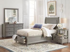 Avignon Youth Collection 1618TPBDMN 4-Piece Bedroom Set with Twin Storage Bed, Dresser, Mirror and Nightstand in Grey