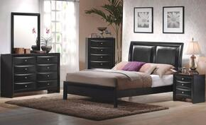 Briana 200701KWDMN 4-Piece Bedroom Set with California King Platform Bed, Dresser, Mirror and Nightstand in Black