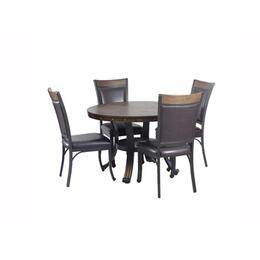"Franklin Collection 15D2020 43"" 5 Piece Dining Set with 1 Dining Table, 4 Chairs, Sturdy Metal Base and Curved Back in Rustic Umber"