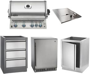 "5-Piece Stainless Steel Kitchen Package with BIPRO500RBPSS 30"" Liquid Propane Grill, N3700504 14"" Side Burner, IMFHR 35"" Outdoor Refrigerator, IMUDC 24"" Access Door, and IM2DC 24"" Storage Drawer"
