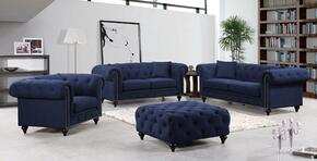 Chesterfield 662NAVY-S-L-C-O 4 Piece Living Room Set with Sofa + Loveseat + Chair and Ottoman in Navy
