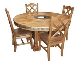 Sedona Collection 1225RODT4C 5-Piece Dining Room Set with Round Dining Table and 4 Chairs in Rustic Oak Finish