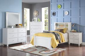 Mallowsea 30410T5PC Bedroom Set with Twin Size Bed + Dresser + Mirror + Chest + Nightstand in White Color
