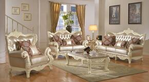 Madrid 674-S-L-C 3 Piece Living Room Set with Sofa + Loveseat and Chair in Rich Pearl White