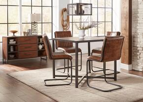 Studio 16 Collection 1661CHT4SS 6-Piece Dining Room Set with Counter Height Table, 4 Stools and Server in Brown and Black